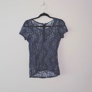4/$25 ✨ Maurices | Navy Dotted Lace Top | Sz S
